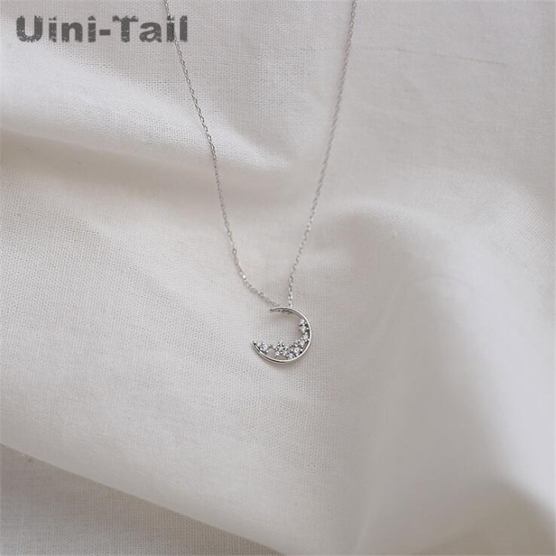 Uini-Tail hot new 925 sterling silver simple stars moon micro-inlaid necklace Korean fashion trend high-quality jewelry GN577