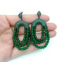 Green Stone CZ Pave Post Earrings