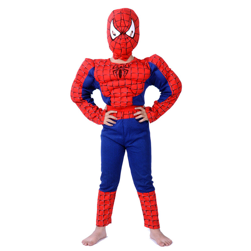 Free shipping 2-8 years Party Kids Comic Marvel Spider-Man Superhero Muscle Halloween Costume,boy roll play clothing C-37