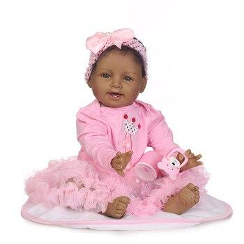 "22"" African baby black doll bebe reborn soft body silicone reborn baby dolls toys for girls gift NPK DOLL"