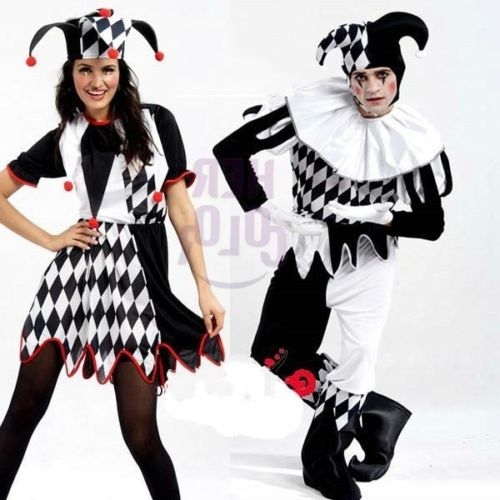 New Harlequin Jester Clown Circus Costume+Hat Halloween Adult Funny Dress Suit/'