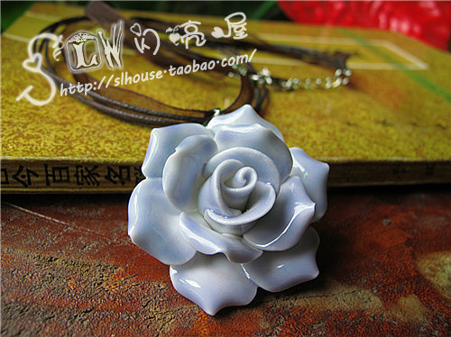 Jingdezhen ceramic accessories purple romantic rose ceramic necklace pendant handmade jewelry