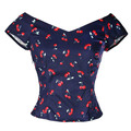 summer women vintage 50s pinup Cherry print v-neck T-shirt tops big plus size 4xl crop top cropped casual cotton shirts clothing