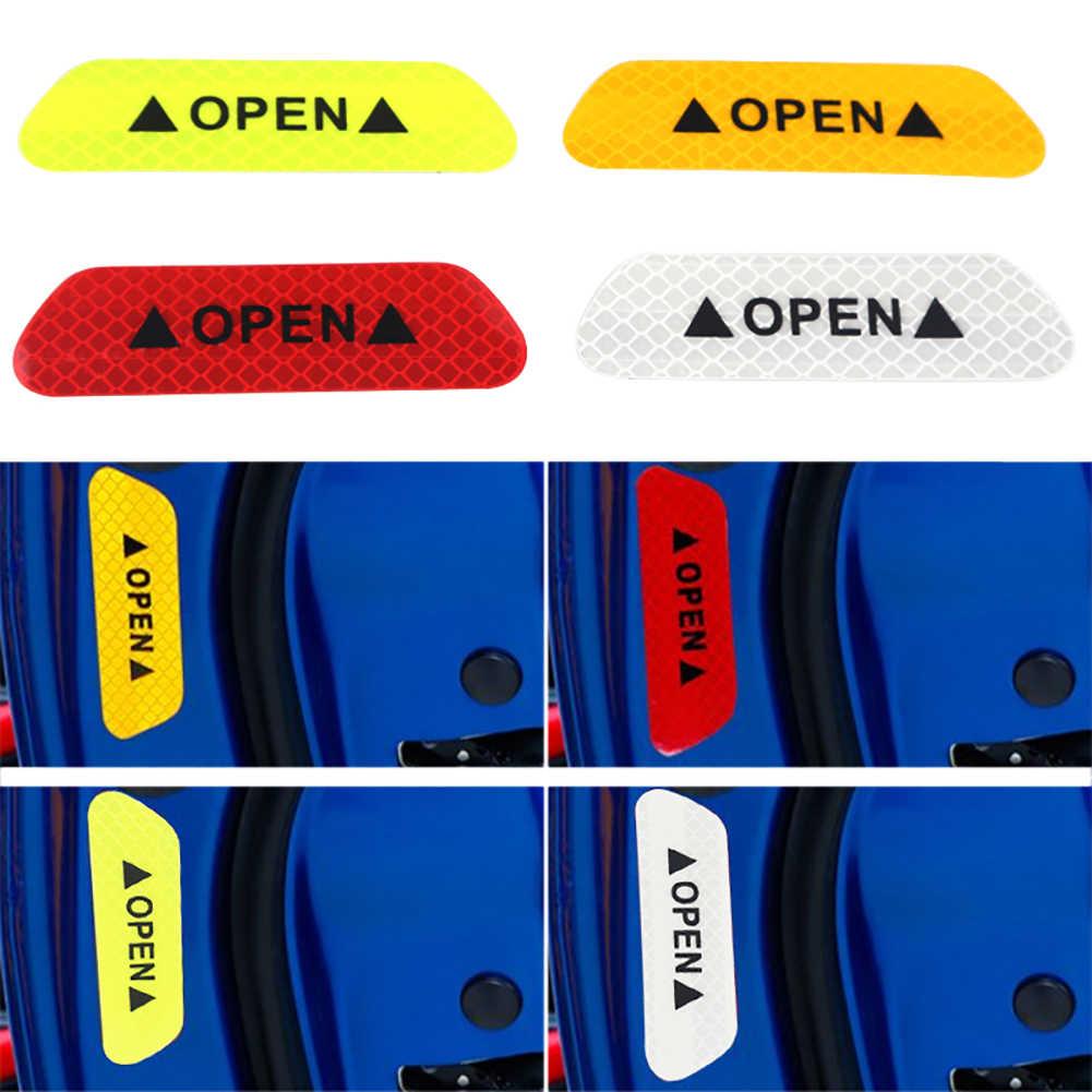 4 pçs/set carro universal aberto reflexivo fita aviso marca reflexivo adesivos de condução automática porta segurança adesivos diy