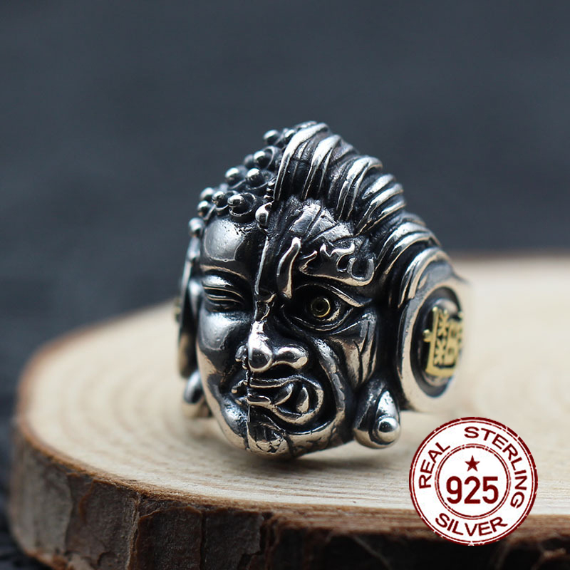 S925 sterling silver mens open ring personality classic retro fashion series Buddha and the devil-shaped gift to send loverS925 sterling silver mens open ring personality classic retro fashion series Buddha and the devil-shaped gift to send lover