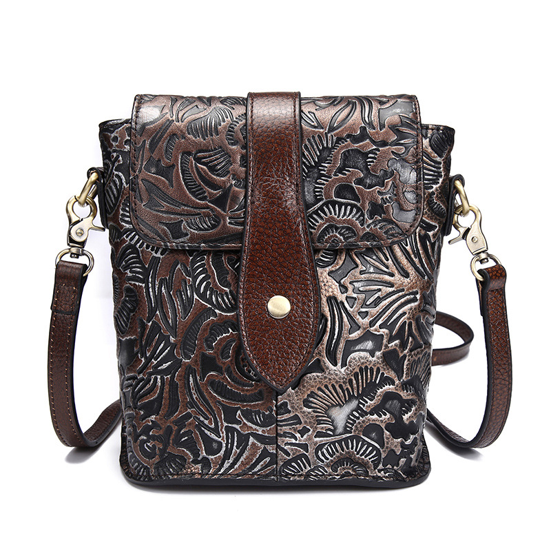 High Quality Genuine Leather Women Messenger Shoulder Bag Ladies Vintage Floral Cross Body Bags Real Cowhide Mini Tote Handbag stylish car cigarette powered charging adapter charger for cell phone black 12 24v