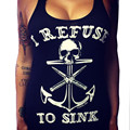 NEW Fashion Tops Women Boat Anchor Skull Printing T-Shirt Women's Sexy Sleeveless Vest Shirts Girls Tops Cotton Blend #JO