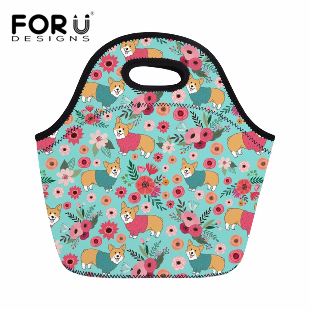 Obliging Forudesigns Corgi Lunch Bag Lovely Puppy Print Neoprene Lunch Box For Women Waterproof Hand Tote Girls Pinic Snacks Container Functional Bags