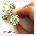 Trend DIY alloy 18mm AKA shield charm handmaking alpha sorority fraternity button beads accept custom 20pcs/lot,ONC003-1