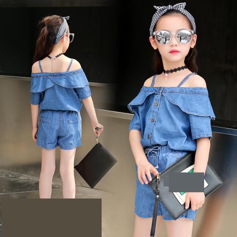 Girls Sports Suits Toddler Girls Clothing Set 2018 Short Sleeve Denim Off Shoulder Shirts + Shorts 2pcs Children Suit Costume 12