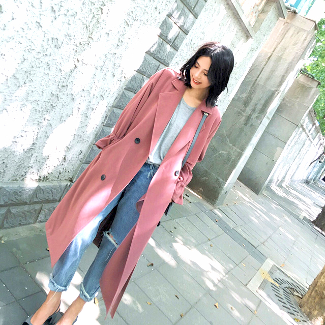 order cheaper bright n colour US $39.04 32% OFF|Pink Drop Shoulder Drape Collar Wrap Coat Fall Elegant  Waterfall Collar Knee Length Work Outerwear With Belt-in Trench from  Women's ...