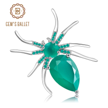 Gemstone-Brooch Agate 925-Sterling-Sliver Gem's Ballet Women Fine-Jewelry Natural Green