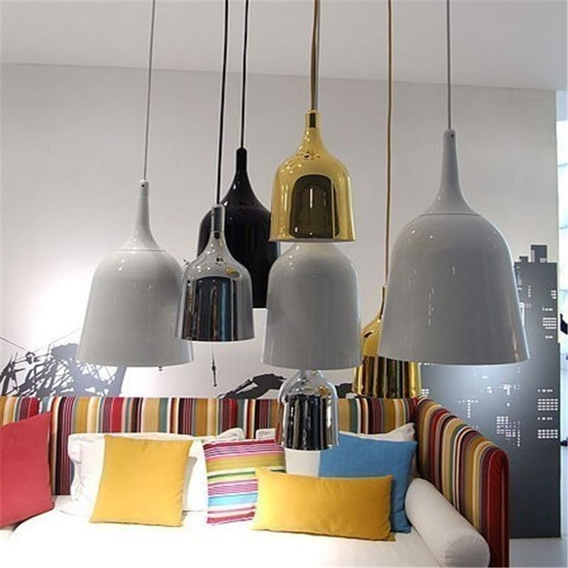 Оригинальная, Экологически чистая, Испания, скандинавский бар, ресторан, кафе, железная люстра, обратный колокольчик, индивидуальный подвесной светодиодный фонарик в виде колокольчика, бесплатная доставка - 4