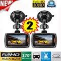 2x автомобильный 1080P 2,2 Full HD видеорегистратор камера автомобиля Dash Cam видео g-сенсор ночного видения vidioregistrator для записывающее устройство для ...
