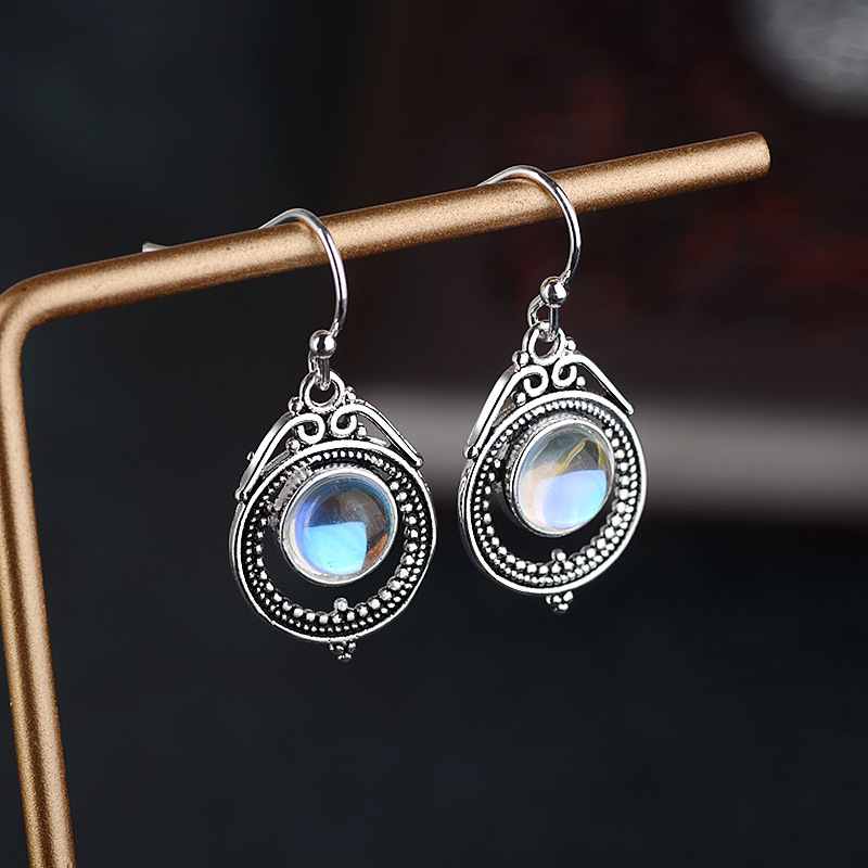 Silver Rainbow Topaz Hollow Waterdrop Moonlight Stone Women Drop Dangle Earrings