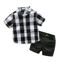 Trẻ Sơ Sinh dễ thương Bé Trai quần áo bộ phù hợp với cậu bé trang phục chính thức gentleman 2 cái ngắn tay Kẻ Sọc áo + quần quần short Cưới sinh nhật Trang Phục