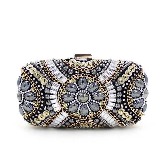 Ladies Dinner Hand Bag 2017 New Factory Sale Evening Banquet Clutch Bags Handmade Luxury Crystal Beading Chain Purse XA372H