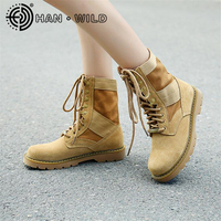 Outdoor Women Boots Genuine Leather Platform Ankle Boots Women Army Shoes Military Tactical Boots Female Desert