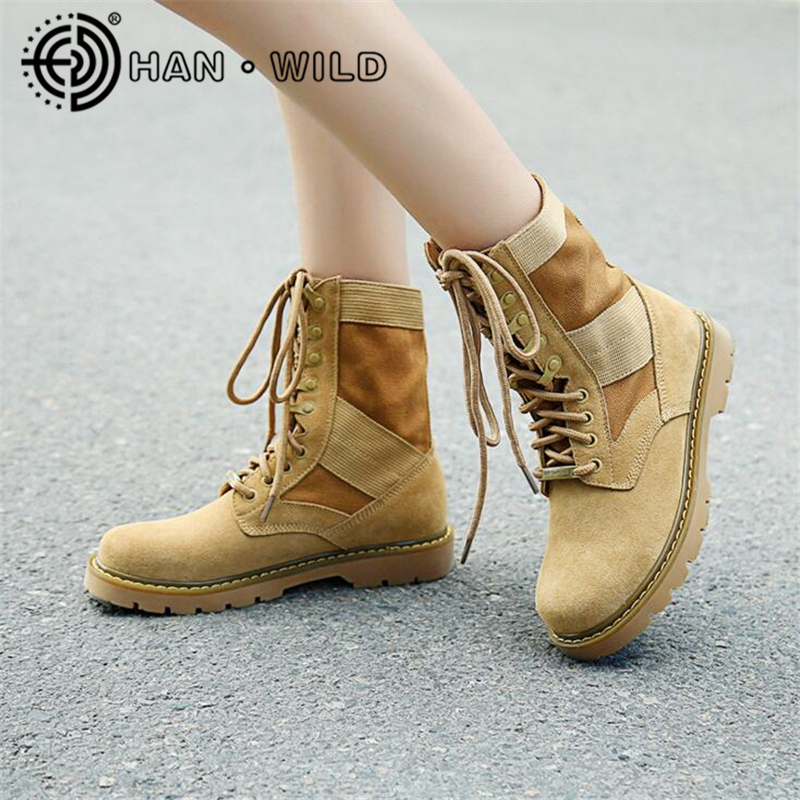Outdoor Women Boots Genuine Leather Platform Ankle Boots Women Army Shoes Military Tactical Boots Female Desert Combat Boots