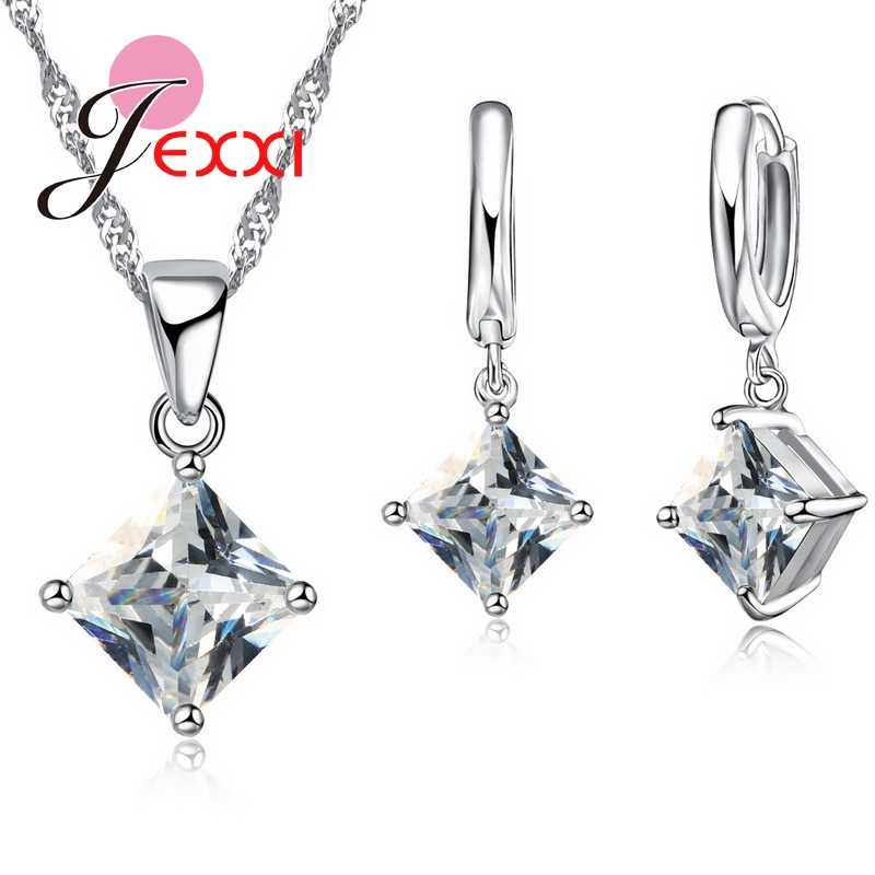 Female Square Shape Austrian Crystal Noble Jewelry Sets Wedding 925 Sterling Silver Necklace Pendant Earring Set 8 Colors