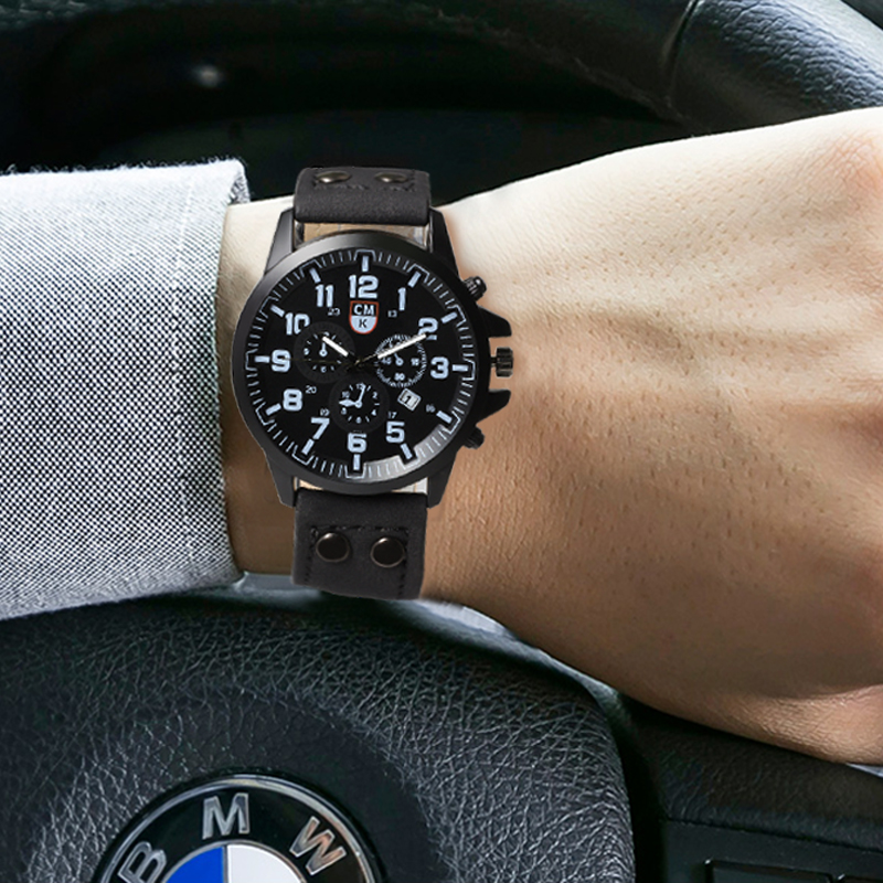 Military Men Watch Leather Strap Date Business Brand Luxury Casual Men's Quartz Wrist Watches Sport Hour Male Clock Reloj Hombre