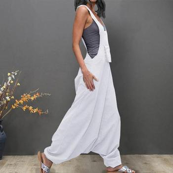 Brief loose Plus Size 5xl Overalls Women U Neck Sleeveless Backless Side Pockets Casual Baggy Long Jumpsuits Salopette Femme#ss 1