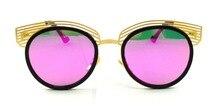Hottest cat eye sunglasses mujeres diseñador de la marca de mezcla de plástico de metal gafas de sol uv400 shades gafas de sol gafas lunettes 17wm030
