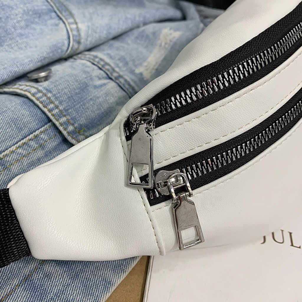 Unisex Duplo Zíper Sacos de Moda Neutro Streetwear Hop trabalho Selvagem Bolsa de Ombro Bolsa de Couro Sacos de Peito