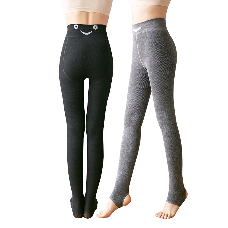 Women Winter Warm Leggings Elastic High Waist Slim Velvet Thickening Leggings Casual Pants Thick Trousers Step Foot Leggings