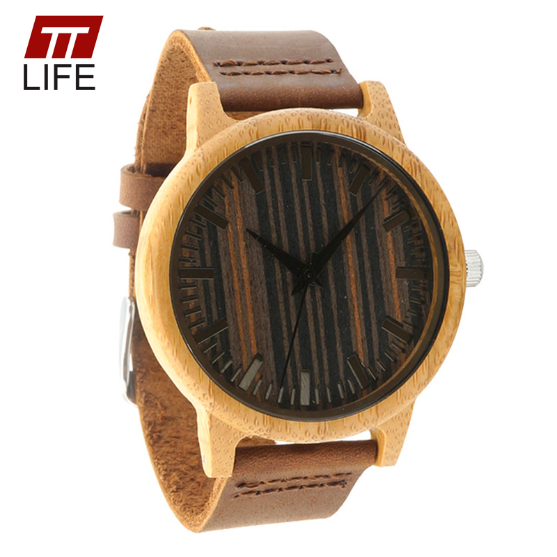 ФОТО TTLIFE Mens 100% Natural Ebony Wood Handmade Watch Bamboo Case Genuine Leather Strap Environmental Wood Dial Quartz Watches A17