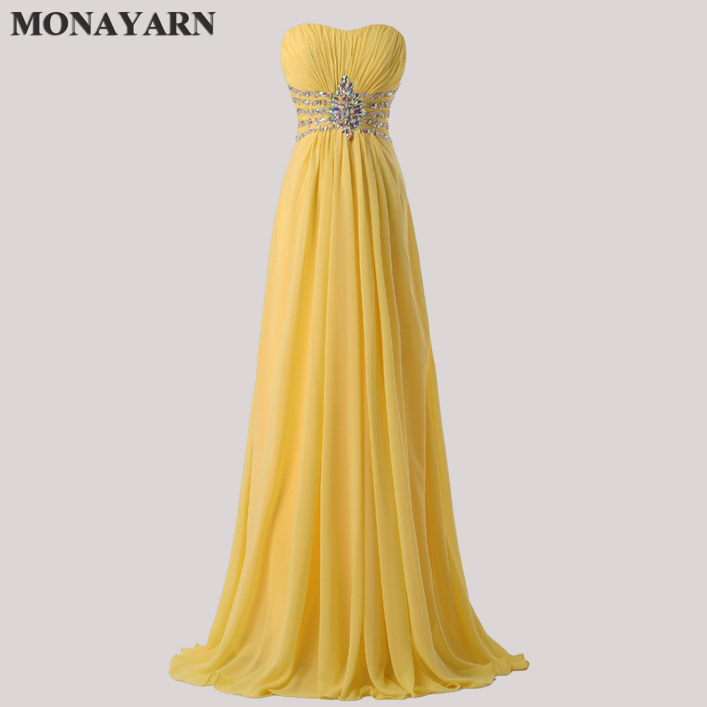 Women Fashion Free Shipping Strapless Chiffon Formal Party   Dress   Long   Bridesmaid     Dresses   2018 hot Yellow Floor Length Prom Gowns