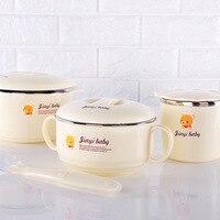 4pcs /Set Stainless Steel Baby Bowl Set little bear Baby Insulation Bowl baby Dinnerware Sets dinner Tableware for baby