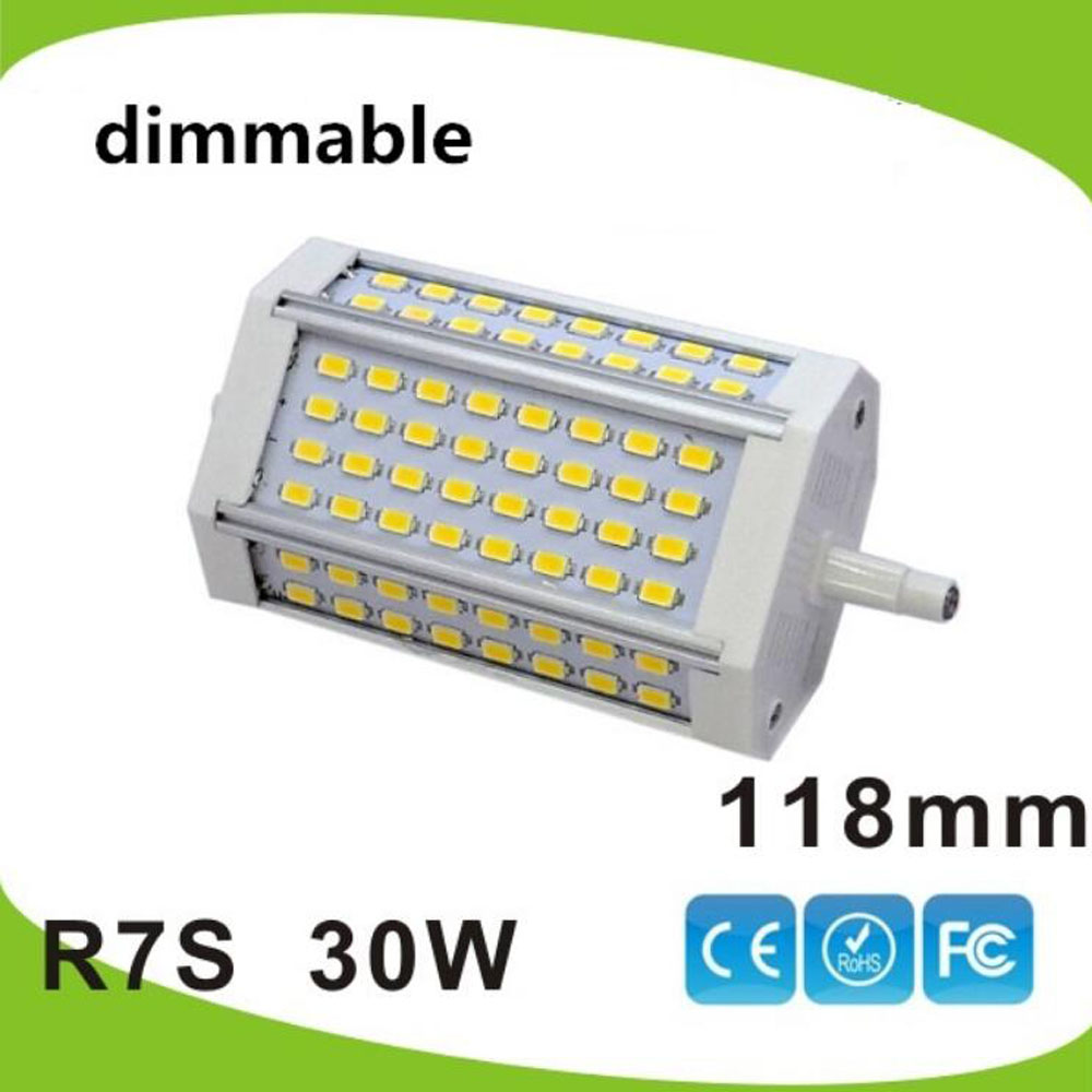 High power 118mm led R7S licht 30 W dimmbare J118 R7S lampe ohne lüfter ersetzen 300 W halogen lampe AC110-240V