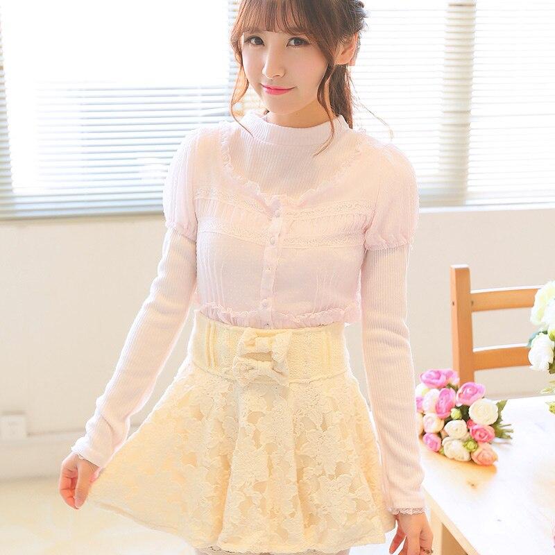 Princesa sweet lolita Uncle FlowerSweet false two sweaters splicing chiffon lace long sleeve top UF99