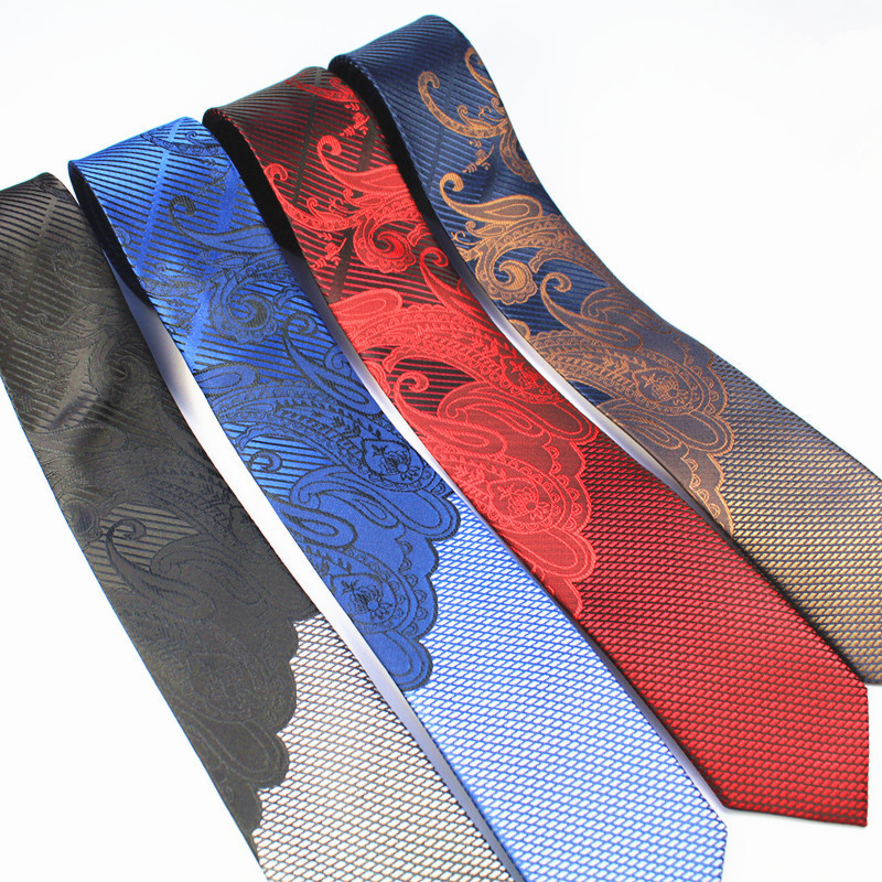 GUSLESON Mens Ties Luxury Man Floral Skinny Neckties Hombre 6 Cm Gravata Slim Tie Classic Business Casual Paisley Tie For Men