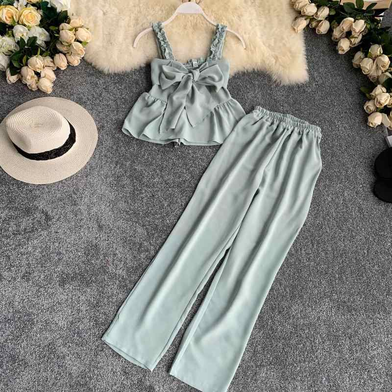 solid women 2 pieces pant sets 2019 summer new v-neck bow ruffles vest and wide leg chiffon pants lady clothing suits