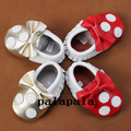 wholesale mickey Minnie Genuine leather baby moccasins soft sole moccs tassel bow Toddler shoes newborn prewalking shoes