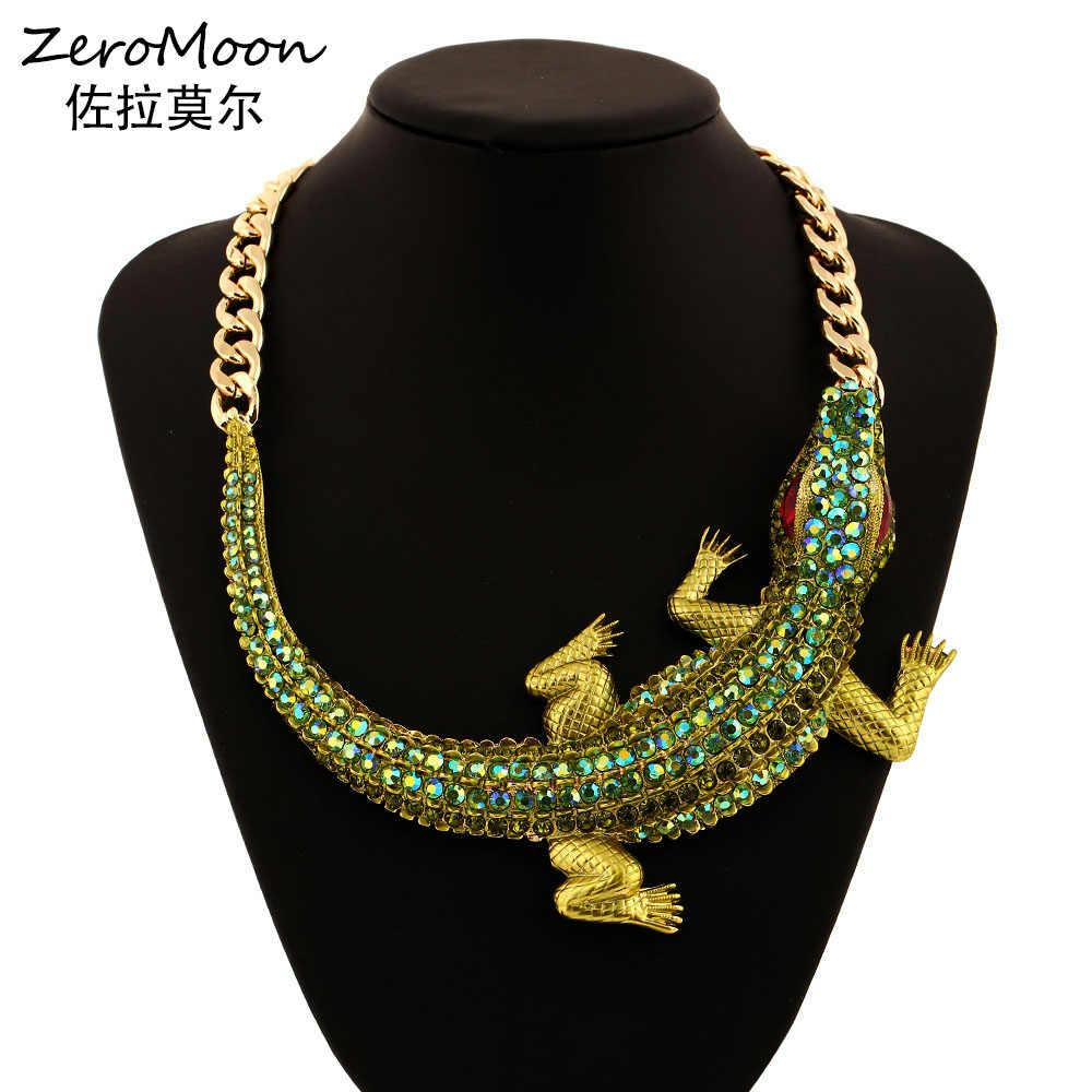 15a76a91d59 Hyperbole Style Crystal Rhinestone Crocodile Statement Necklace Thick Chain  Animal Women Fashion Jewelry