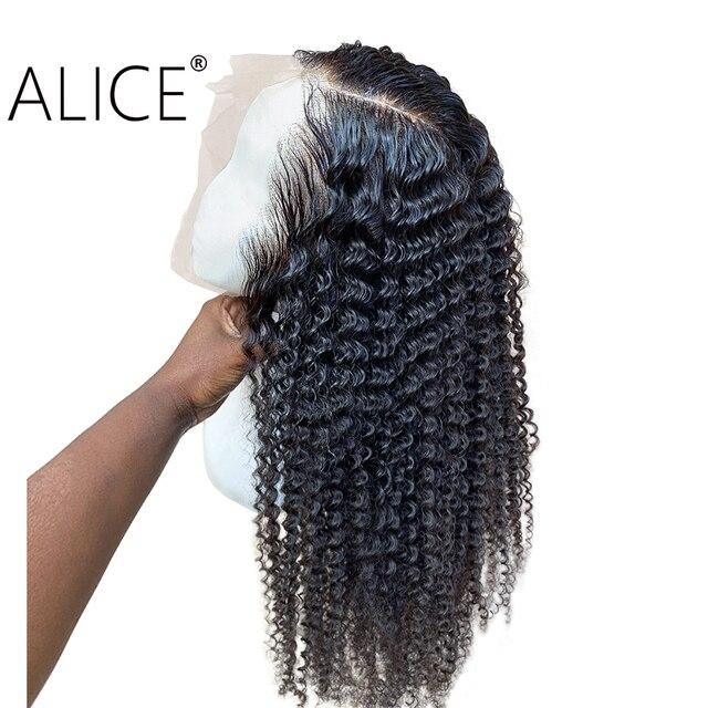 ALICE pelucas con minimechones de cabello humano rizado, 130% de encaje brasileño con frente, prearrancado, no remy, 13x4