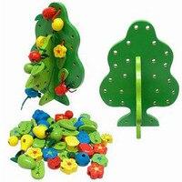 Trasporto libero di Legno grappoli di alberi da frutto FAI DA TE indossare perle perline giocattoli, legno bambini educativi del bambino abilità di inizio di formazione
