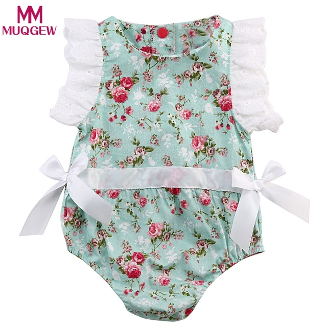 41b9135eb789 2018 Hot Cotton Floral Print Baby Girl Romper Set Summer Infant Kids ...