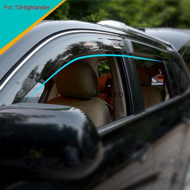 Para Toyota Highlander 2014 2015 Plástico ABS Moldeo Ventana Visera Parasol Puerta Visor 4 Unids/set