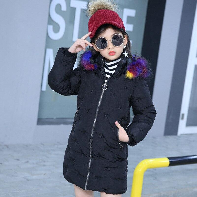 Plein col manteau à capuche filles décontracté coton veste hiver enfants fille Long solide Zipper manteau 6 8 10 12 ans enfants vêtements
