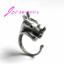 Hot Sale Rhino Animal Wrap Rings Retro Rhinoceros Rings Unique Gift Fine Jewelry Wholesale(China)
