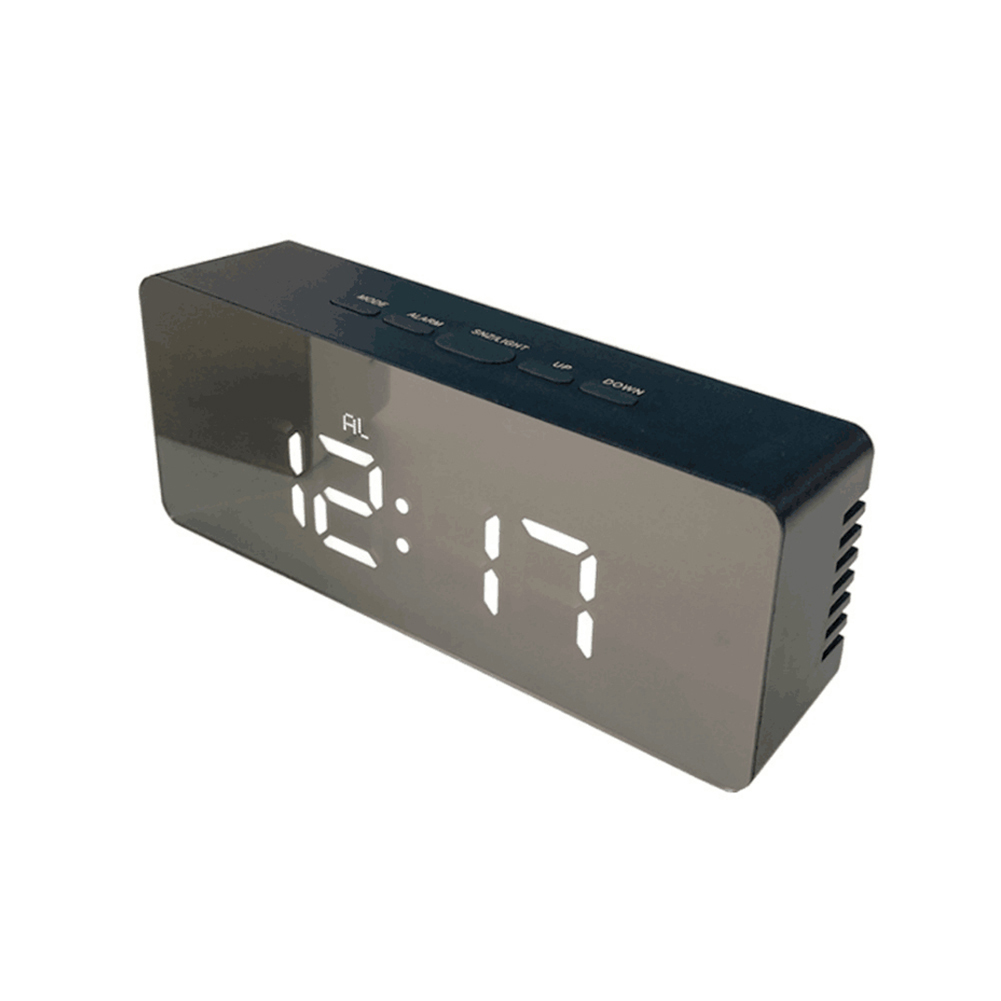 LED Mirror Alarm Clock Digital Display Snooze Table Clock Wake Up Light Electronic Large Time Temperature Display Home Decor