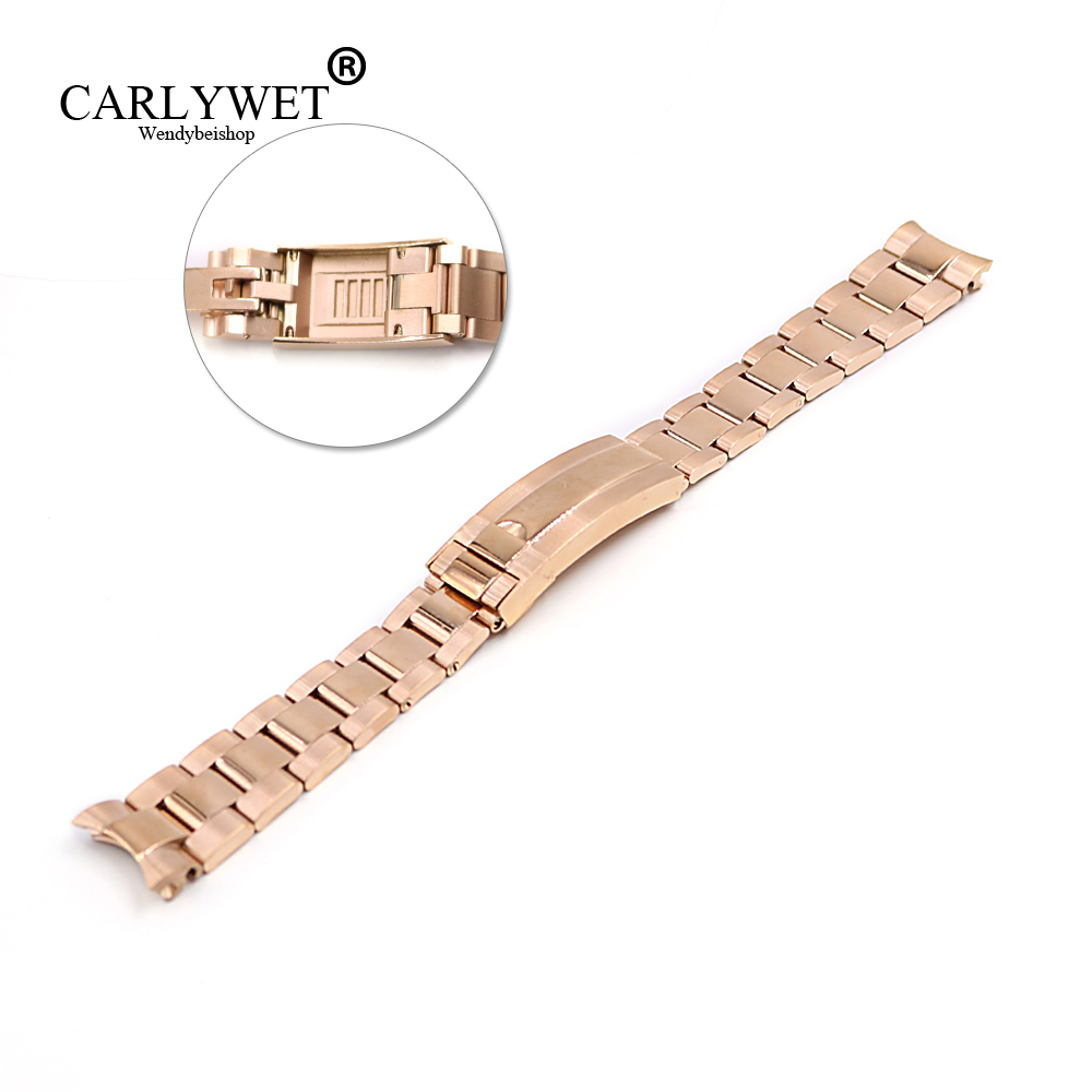 CARLYWET 20mm Rose Gold Stainless Steel Solid Curved End Screw Links New Style Glide Lock Clasp Steel Watch Band Bracelet carlywet 22 24mm silver solid screw links replaceme 316l stainless steel wrist watch band bracelet strap with double push clasp