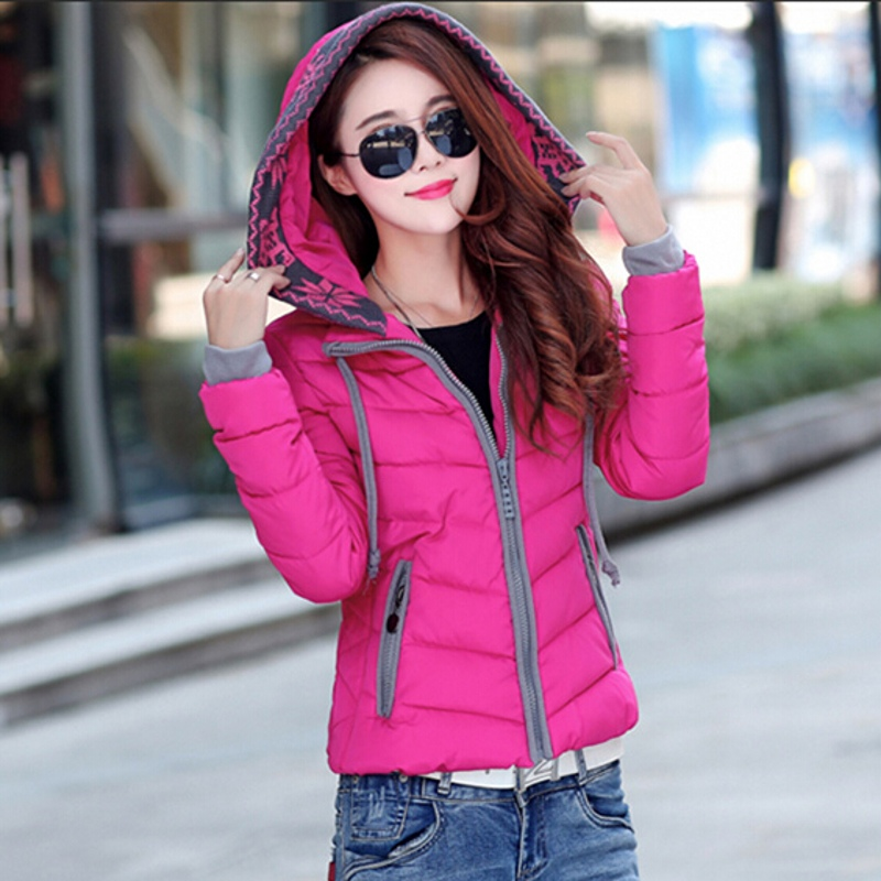 Winter Coat Women 2016Fashion Solid Color Slim Down Coat Hooded Short Outerwear Coat New Female Plus Size L-3XL WT0112