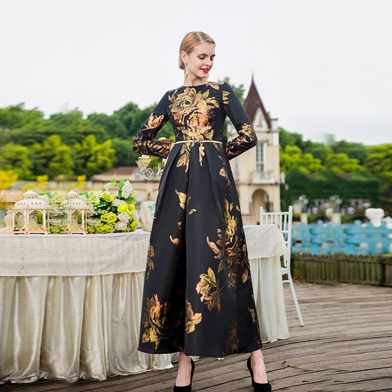 Printemps mode marque super plus longues fleurs dorées imprimé robes femme écosse style grand swing atteindre étage longue robe wq758