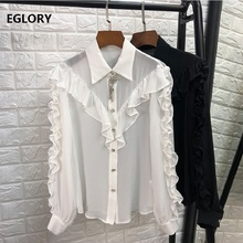 100% National Silk Blouse Shirt Women Turn-down Collar Star Beading Tassel Solid Black White Ruffle Blouse Tops Feminina Blusa