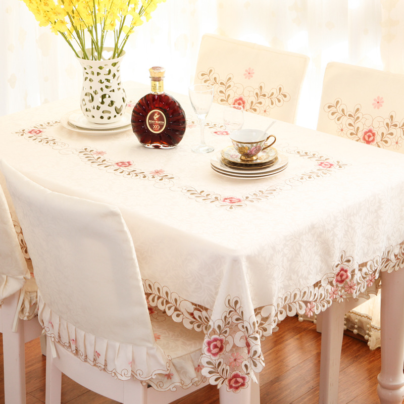 Pastoral Style Embroidered Oval Dining Table Cloth Chair Set Cloth Set Home Fabric Tablecloth Cover